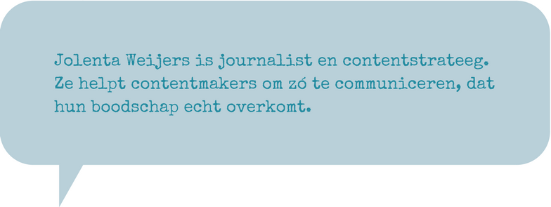 Jolenta Weijers is journalist en contentstrateeg